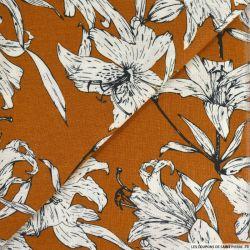 Lin viscose imprimé balade poétique marron orangé