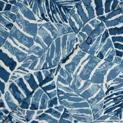 Lin viscose imprimé tropical bleu ciel