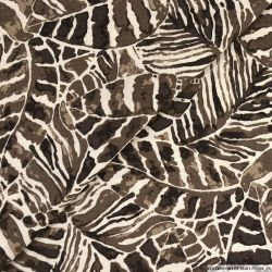 Lin viscose imprimé tropical taupe