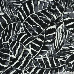 Lin viscose imprimé tropical noir