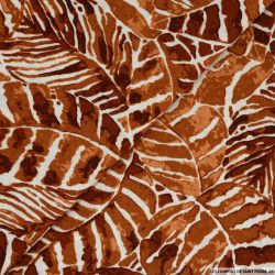 Lin viscose imprimé tropical marron orangé