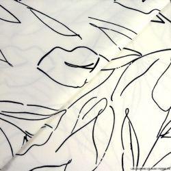 Satin de coton imprimé épuré blanc