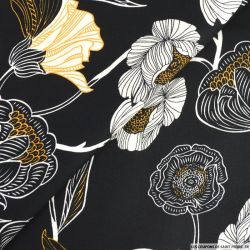 Satin de coton imprimé fleurs en dessin noir