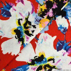 Lin viscose imprimé aquarelle floral rouge