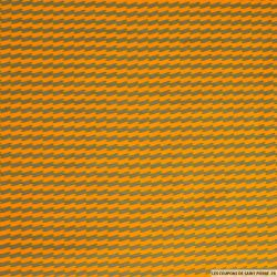 Jersey de coton imprimé rayures zigzags topaze