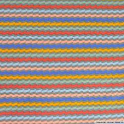 Jersey de coton imprimé rayures zigzags multicolore