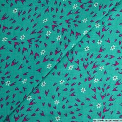 Viscose imprimée superposition de fleurs fond taupe