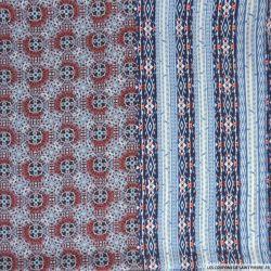 Microfibre polyester imprimée ethnique bleu