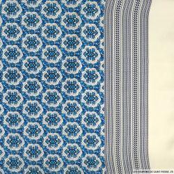 Microfibre polyester imprimée romance bleu