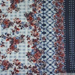 Microfibre polyester imprimée fleurs myrtille