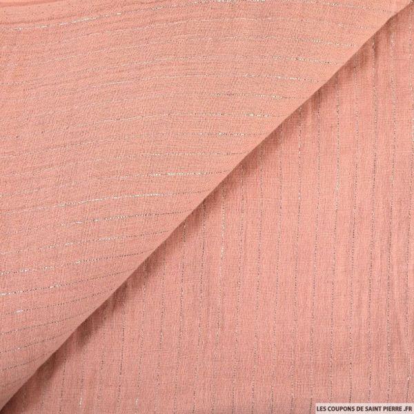 Double gaze rayures lurex rose pâle