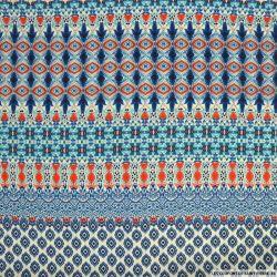 Crêpe polyester imprimé frise bleu et rouge