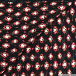 Mousseline lurex imprimé losange déstructuré fond noir