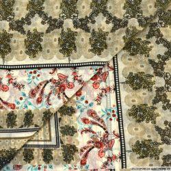 Mousseline lurex imprimé balade champêtre kaki