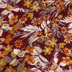 Mousseline lurex imprimé fleurs hachuré fond lie de vin