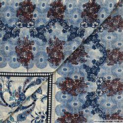 Mousseline lurex imprimé balade champêtre bleu
