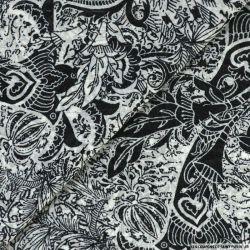 Mousseline lurex imprimé jungle noir et blanc
