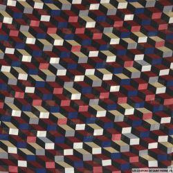 Mousseline polyester cubisme bordeaux