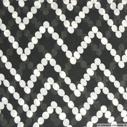 Mousseline polyester guirlande fond noir