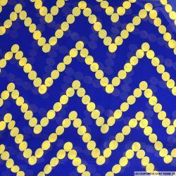 Mousseline polyester guirlande jaune fond bleu