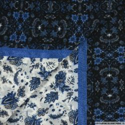 Mousseline polyester vieille école bleu
