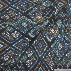 Mousseline polyester losange migratoire fond noir