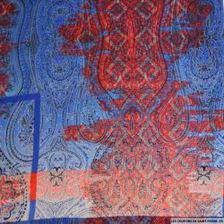 Mousseline polyester arabesque rouge et bleu