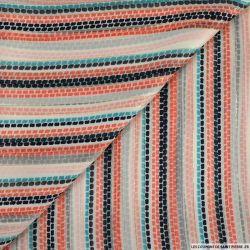 Mousseline bande satin lurex rayure coupé multicolore