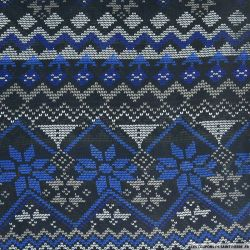Mousseline polyester pixel bleu et noir
