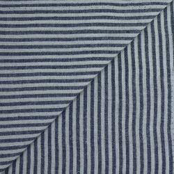 Polycoton rayures 4mm bleu nuit