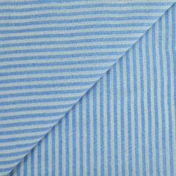 Polycoton rayures 4mm bleu ciel