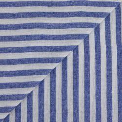 Polycoton rayures 7mm bleu