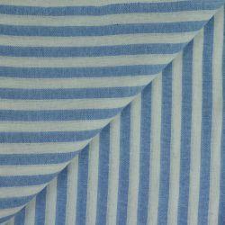 Polycoton rayures 7mm bleu ciel