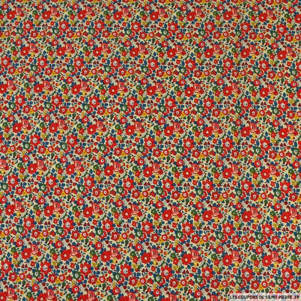 Coton liberty ® Betsy Ann rouge au mètre