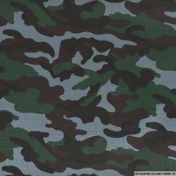 Gabardine polycoton camouflage gris