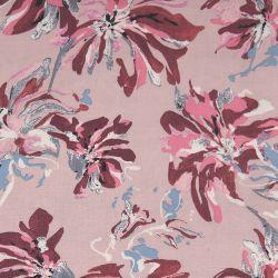 Viscose imprimée fleurs sauvage rose