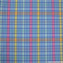 Coton imprimé jolie carreaux bleu, rose et jaune
