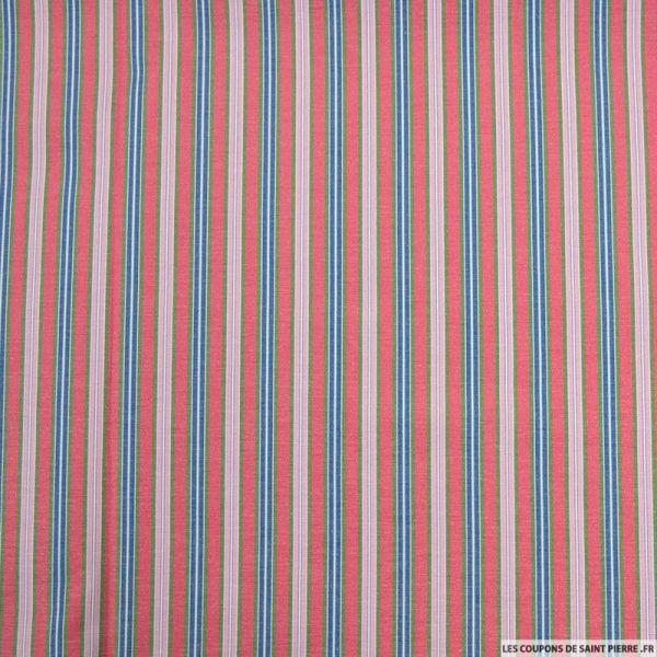 Coton imprimé rayure dans rayure rose
