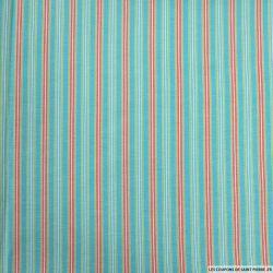 Coton imprimé rayure dans rayure bleu
