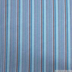 Coton imprimé fine rayure bleu