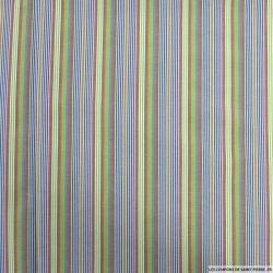 Coton imprimé fine rayure vert