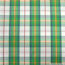 Coton imprimé gros carreaux vert et orange