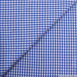Coton imprimé petit carreaux bleu et blanc