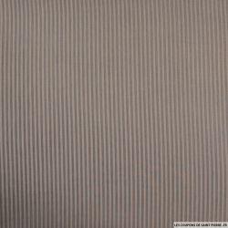 Voile polycoton rayé taupe