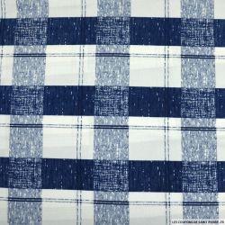 Maille maillot de bain imprimée carreaux bleu abimé