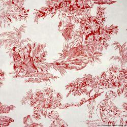 Popeline de coton imprimé toile de jouy bordeaux
