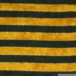Jersey texturé imprimé rayé moutarde