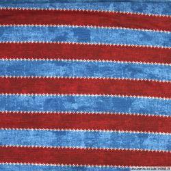 Jersey texturé imprimé rayé rouge et bleu