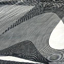 Plissé polyester imprimé graphique noir et blanc