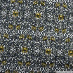 Jersey imprimé fleurs de bois noir